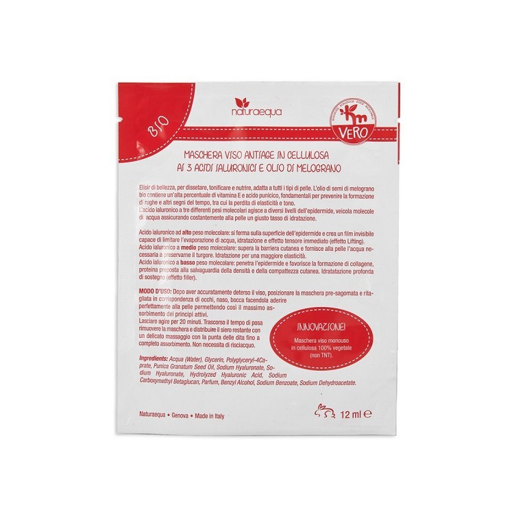 ANTIAGE cellulose face mask with 3 hyaluronic acids and pomegranate oil